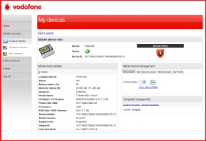 Vodafone Security Portal - click to enlarge
