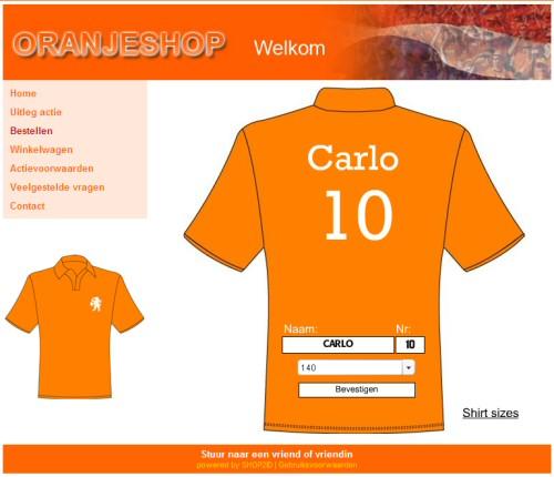 Bestel hier je oranje T-shirt met zelfgekozen naam en rugnummer!